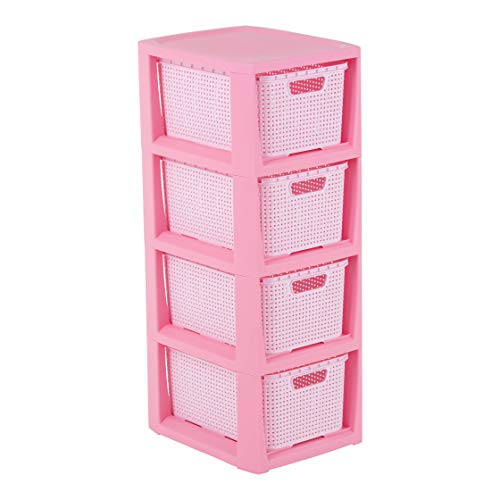 BranQ - Home essential Estantería en diseño de ratán, Color Rosa, 4 cestas