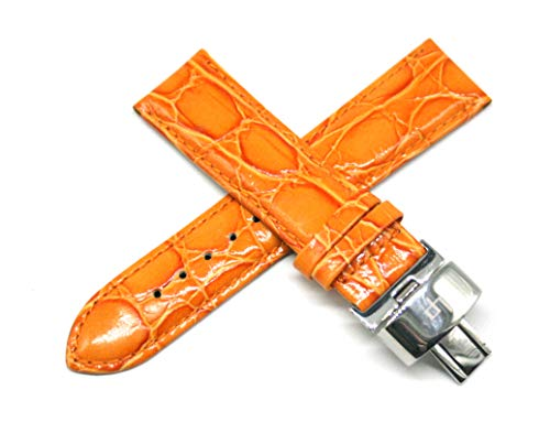 Lucien Piccard 22MM Orange Crocodile Grain Genuine Leather Watch Strap 7.5 Inches with Silver LP Initial Clasp