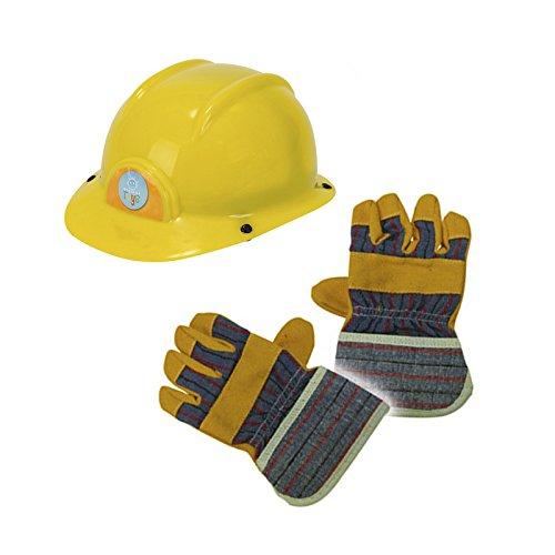 Bauarbeiter Set Bauhelm und Handschuhe Kinder Spielzeug Helm ab 3 Jahren