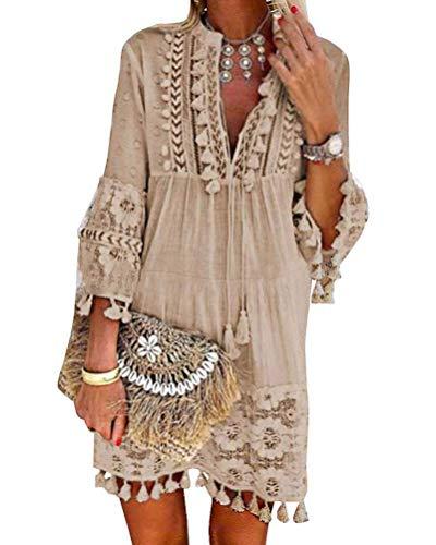 Minetom Damen Kleider Strand Elegant Casual A-Linie Kleid Langarm Sommerkleider Boho V-Ausschnitt Quaste Tunika Mini Kleider A Khaki 38