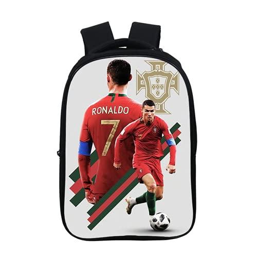 Footer Star Cristiano Ronaldo One Piece - Mochila para estudiantes, impresión 3D HD, bolsa para portátil, asa y libro para niños, regalo escolar, A36, 37x30x16cm,
