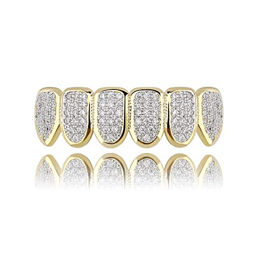 JINAO 18k Gold Plated All Iced Out Luxury Cubic Zirconia Gold Bottom Teeth Grillz Set for Men Women with Extra Molding Bars Included (Bottom Grillz)