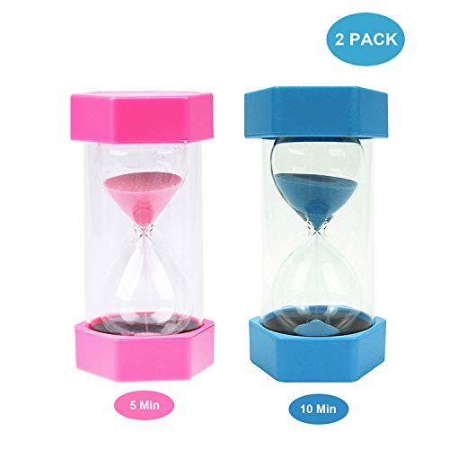 Best of Times, LLC 2 Pack 5/10 Minutes Glass Hourglass Sand Timer Set for Kids Kitchen (Blue/Pink)