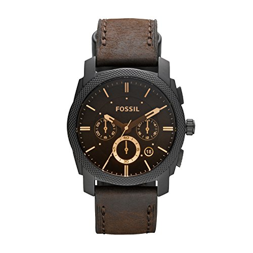 Fossil heren chronograaf kwarts horloge met lederen armband FS4656IE