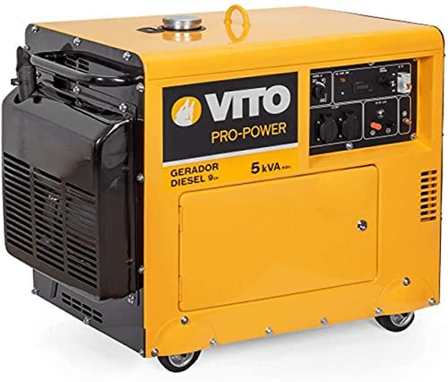 VITO 5KVA 9PS Silent Diesel Stromerzeuger 4,5 kW 230V E-Starter, luftgekühlt, Ölmangelsicherung, Überlastschalter, AVR Regelung für empfindliche Elektronik, Diesel Generator, Diesel Notstromaggregat