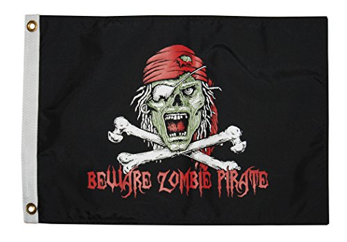 Zombie Pirate Head Double Sided Flag for Halloween Decoration