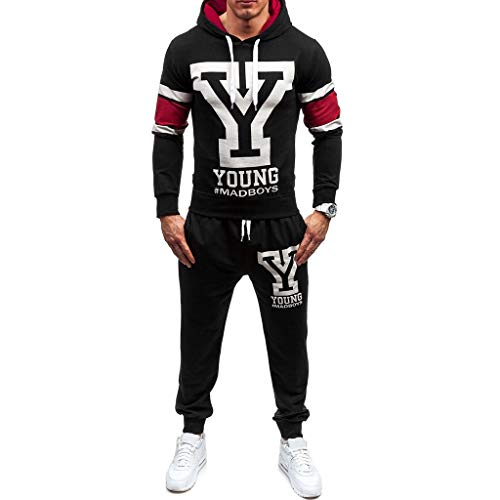 Men's Fashion Jogging Tracksuit Letter Print Sportswear Casual Joggers Sets Hoodie Sweatshirt+Sweatpants Outfits by-Leegor (XX-Large, Black-A)