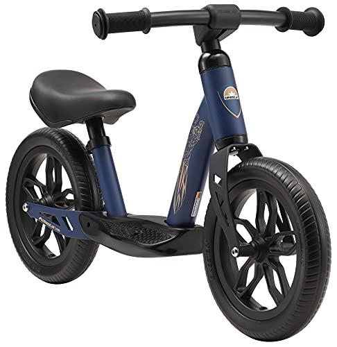 BIKESTAR Bicicletta Senza Pedali Extra Leggera per Bambino et Bambina 2 - 3 Anni | Bici Senza Pedali Bambini 10 Pollici Eco Classico | Blu Scuro
