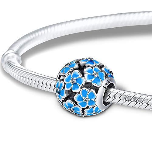 CKK 925 Sterling Silver Jewelry Blue Plumeria Blossom Chamrs Fit Pandora Bracelets