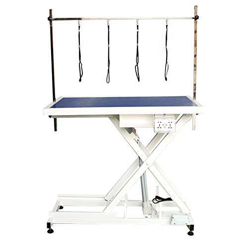 PAMPELLYA Electric Lifting Dog Grooming Table, 48 Inch Heavy Duty Hydraulic Grooming Table for Pets, Maximum Capacity Up to 220lbs, Anti-Skid Rubber Desktop with Adjustable Arm (Blue)