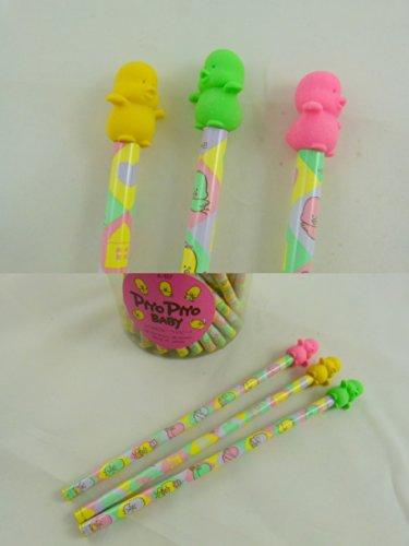 Piyo Piyo patito japonés amarillo, verde, rosa Lápices Borrador Top HB (3 plumas) de Japón