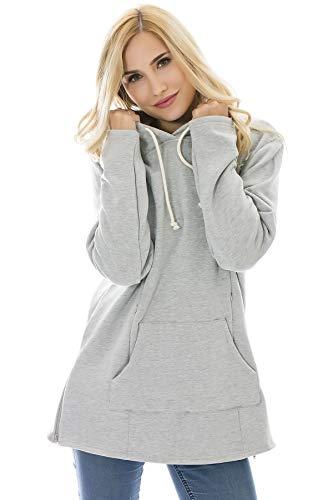 Bearsland Women's Maternity Sweater Clothes Nursing Sweatshirt Breastfeeding Hoodie With Pockets Gray