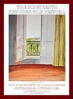 ポスター デビット ホックニー Window Grand Hotel Vittel 1970 額装品 ウッドベーシックフレーム(レッド)