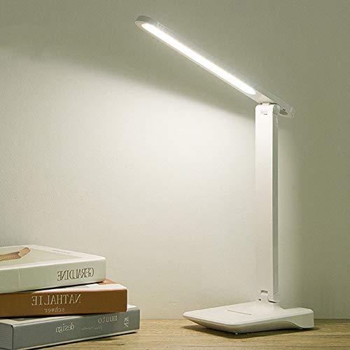 Lámpara con sensor táctil LED de 9 W con control táctil y brightness, ajustable mediante USB, recargable, para proteger los ojos y la mesa