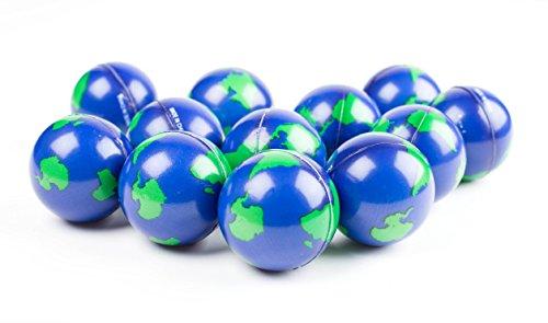 "World Stress Ball Earth Stress Relief Toys Therapeutic Educational Balls Bulk 1 Dozen 2"" Globe Squeeze Stress Balls"