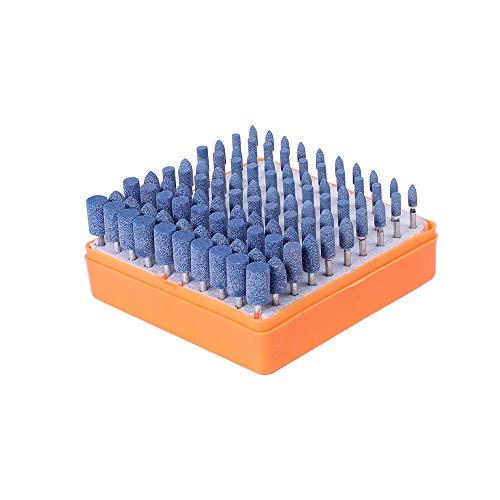 GFHDGTH 100-delige geassorteerde gemonteerde stenen kit schuurgereedschap, voor Dremel-slijpmachine, polijsten, slijpen, slijpsteen, blauw