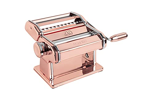 Marcato Atlas 150 Machine, Made in Italy, Includes Pasta Cutter, Hand Crank, and Instructions, 150mm, Copper