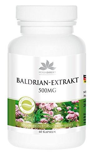 Baldrian Kapseln - 500mg - 4-fach konzentriert - 60 Kapseln - vegan