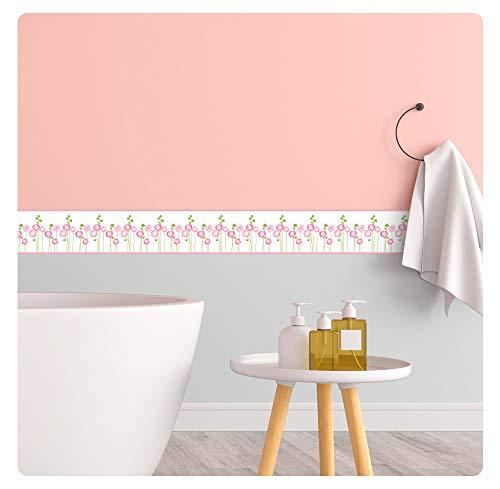 setecientosgramos Cenefa Decorativa Auto-Adhesiva | Decoración de Pared | Hogar-Cocina-Baño-Dormitorio | 5 m x 15 cm | Roses