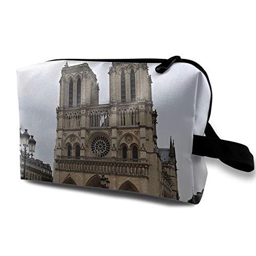 Bolsa de almacenamiento de lona de maquillaje de viaje, bolso de aseo portátil, pequeño organizador de cosméticos, bolsa de monedas para niñas, mujeres, hombres, paisajes de París Notre Dame