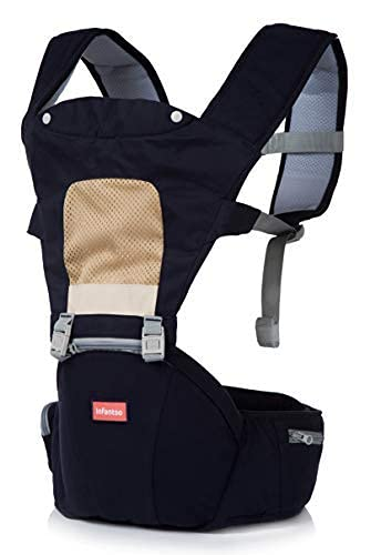 INFANTSO 4-in-1 Adjustable Hip SEAT Baby Carrier Soft & Comfortable with Safety Belt, Multi-Utility Pockets & Wide Cushioned Straps (Blue)