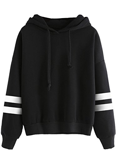 SweatyRocks Sweatshirt Pullover Fleece Drop Shoulder Striped Hoodie Black #3 L