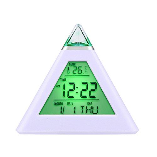 [Regalo de Reyes] HAMSWAN Despertadores Reloj Despertador Cambinado Entre 7 Colores con 8 Tonos la Fecha Reaciona Automáticamente Temperatura La Luz