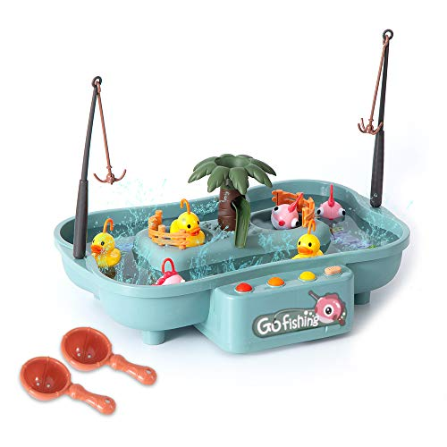 LeDiYouGou Duck Fishing Game Toy for Kids-Cute Fishing Table Toys-Electric Rotating Music Fishing Pool-Water Table Bathtub Realistic Floating Fish for Toddlers Boy Girl