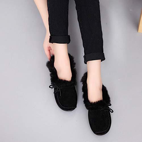 HRCxue Pumps Einzelne Schuhe mit Schnürsenkel niedriger Absatz Wilder Rutschfester Plüsch warm, schwarz, 38