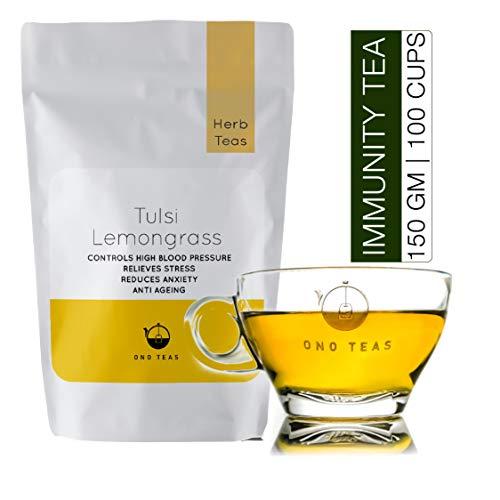Ono Teas Tulsi Lemongrass Loose Herbal Tea with Ram, Sham and Vana Tulsi Leaves & Lemongrass for Immunity, Body Detox, Stress, Cough & Cold (150 gm | 150 Cups)