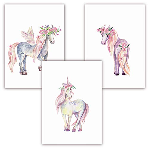 Pandawal Wanddeko Kinderzimmer Bilder Mädchen schöne Wand Deko für Mädchenzimmer Einhorn/Pferde 3er Poster Set (S10) im DIN a4 Fomat