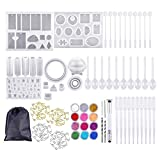 159 Pcs Set - DIY Crystal Glue Jewelry Mold and Tools Set- Silicone Casting Molds and Tools Set with a Black Storage Bag for DIY Resin Jewelry Craft Making Including Pendant, Earring, Diamond