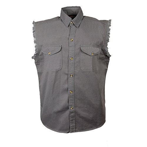 Mens Biker Riding Grey Cotton Cut Off Half Sleeveless Shirt with Frayed Sleeves (2XL)