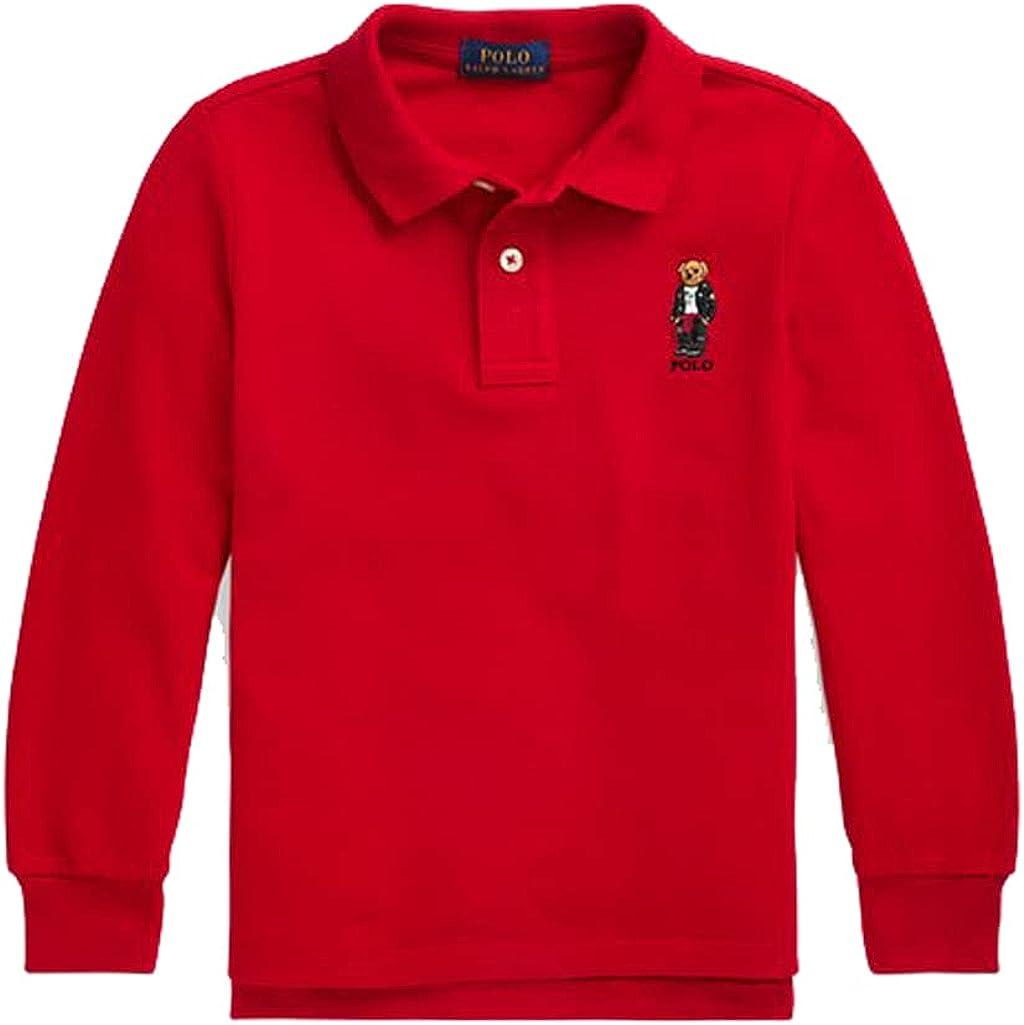 Ralph Lauren Boy's Long Sleeve Moto Bear Polo Shirt (4 4T) Red
