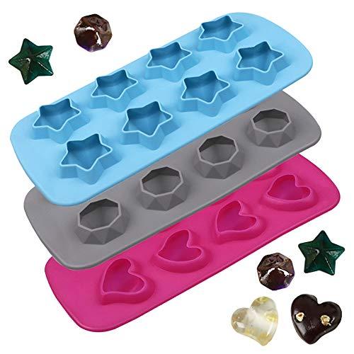 AFUNTA - Stampo per ghiaccio in silicone a forma di cuore, a forma di diamante, pentagramma, per creare cubetti di ghiaccio, gelatina, caramelle, facile rilascio e facile da pulire
