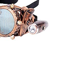 ZAIQUN Retro Goggles Vintage Steampunk Glasses Rave Crystal Lenses for Cosplay Halloween #2