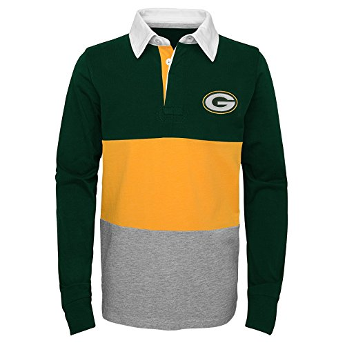 NFL Green Bay Packers Youth Boys State of Mind Long Sleeve Rugby Top Black, Youth Large(14-16)