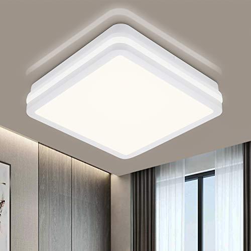 LED Deckenleuchte Bad, 18W 1800LM IP54 Wasserfest Badlampe, OPPEARL Flimmerfrei Deckenlampe für Wohnzimmer Küche Balkon Schlafzimmer Flur Badezimmer, Ø22cm Neutralweiß 4000K