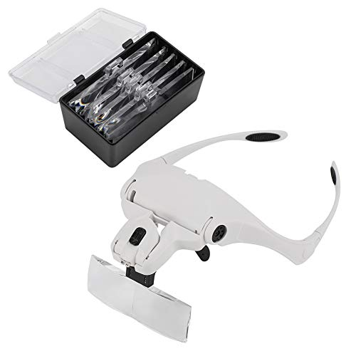 Raguso Brillenhalterung Lupe, kopfmontierte Lupe Freisprecheinrichtung LED beleuchtete Lupe Visier für Uhr und elektronische Reparatur