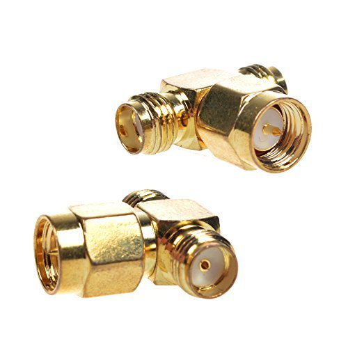 BCP 2PCS SMA Male to 2 SMA Female Triple T RF Coaxial Coax Adapter Connector 3 Way Splitter