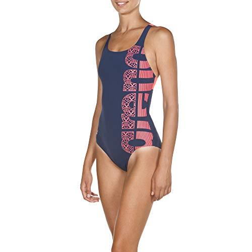 ARENA Damen Sport Badeanzug Equilibrium Lining, Navy-Shiny pink, 42