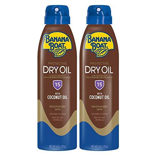 Banana Boat Dry Oil Spray SPF 15, 6oz Twin Pack