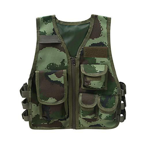 Agoky Kinder Trainingswesten Atmungsaktiv Reißverschluss Multifunktionsweste Outdoor-Jacke mit Taschen für CS Game Leichtgewicht Westen Armeegrün S
