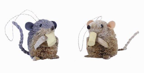 Kurt Adler 2.5-Inch Buri Sitting Mouse with Cheese Christmas Ornaments 2 Assorted