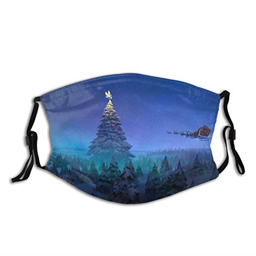 Santa Claus Reindeer Sleigh Flying Christmas Tree Face Mask Dustproof Breathable Protective Scarf Reusable Adjustable Washable Fashion Bandana Made In USA