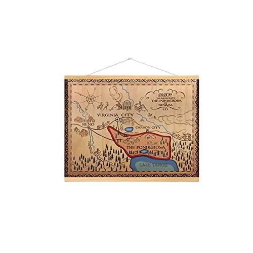 Karte von Bonanza Ponderosa Ranch Gemälde Leinwand Wandkunst Poster Bild Dekor Wohnzimmer Dekor Poster Poster gedruckt auf Leinwand, 40x60cm (mit Rahmen)