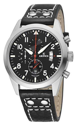 KRONOS - Pilot Sport Chronograph Black&Red 948.55R - Reloj de Caballero de Cuarzo, Correa de Piel Negra, Color Esfera: Negra