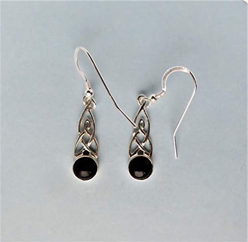 Whitby Jet and Silver Celtic Knot Drop Earrings