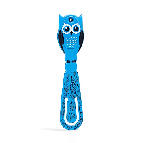 Flexilight Pals Powerful Compact Thin LED Reading Book Light Clip On Adjustable Flexible Travel Bed Night Bookmark Eye Care Lamp Gift Batteries Included (Owl Pal)