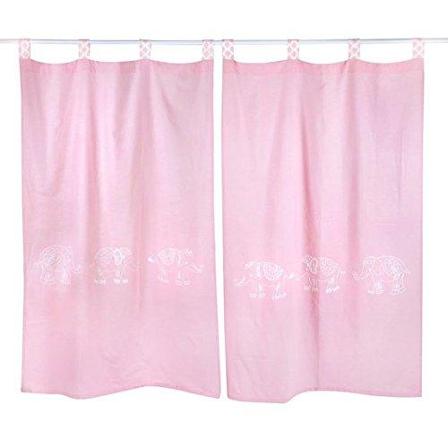 Parure de lit 4 pièces Motif éléphant rose, Coton, rose, Curtain